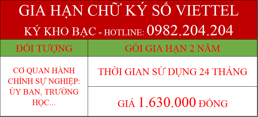 47.Chữ ký số Viettel kho bạc gia hạn 2 năm giá 1.630.000Đ