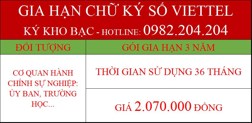 48.Chữ ký số Viettel kho bạc gia hạn 3 năm giá 2.070.000Đ