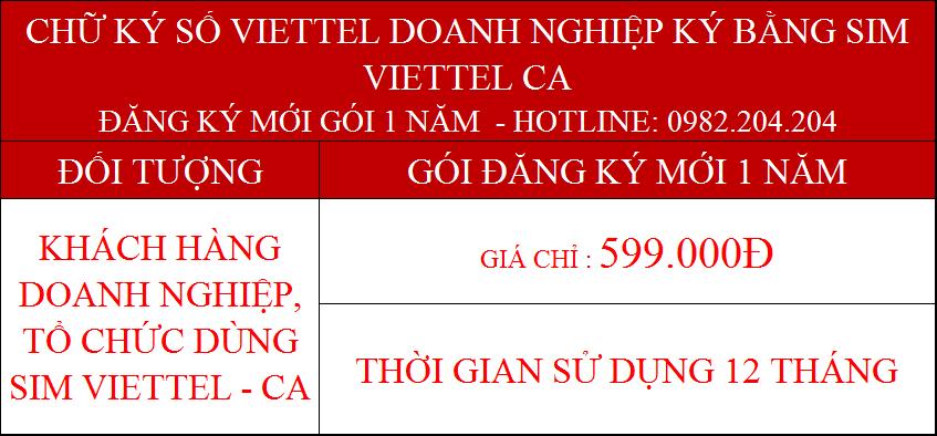 7.Chữ ký số Viettel cấp mới 1 năm doanh nghiệp ký bằng sim CA giá 599000Đ