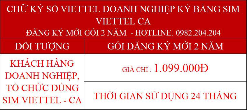 8.Chữ ký số Viettel cấp mới 2 năm doanh nghiệp ký bằng sim CA giá 1099000Đ