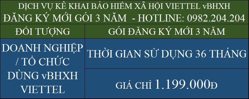 Bảng Giá Dịch Vụ Kê Khai Bảo Hiểm Xã Hội Viettel vBHXH Gói 3 năm