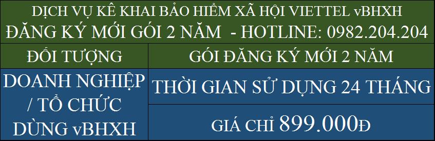 Bảng Giá Dịch Vụ Phần Mềm Kê Khai Bảo Hiểm Xã Hội Viettel vBHXH Gói 2 năm