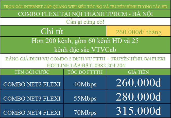 Bảng Giá Lắp Mạng Cáp Quang Wifi Giá Rẻ TPHCM Combo kèm truyền hình nội thành