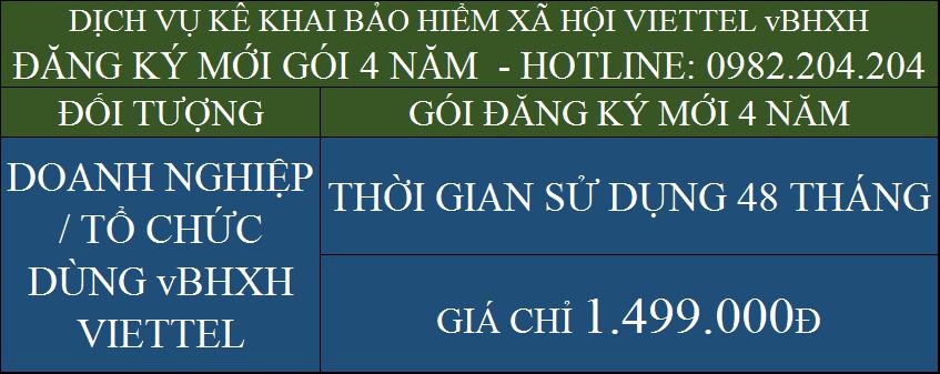 Bảng Giá Phần Mềm vBHXH Viettel gói 4 năm