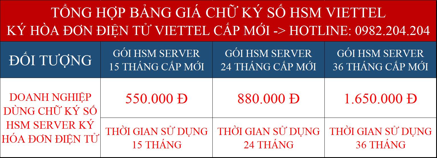 Bảng giá chữ ký số Viettel Server cấp mới ký hóa đơn điện tử