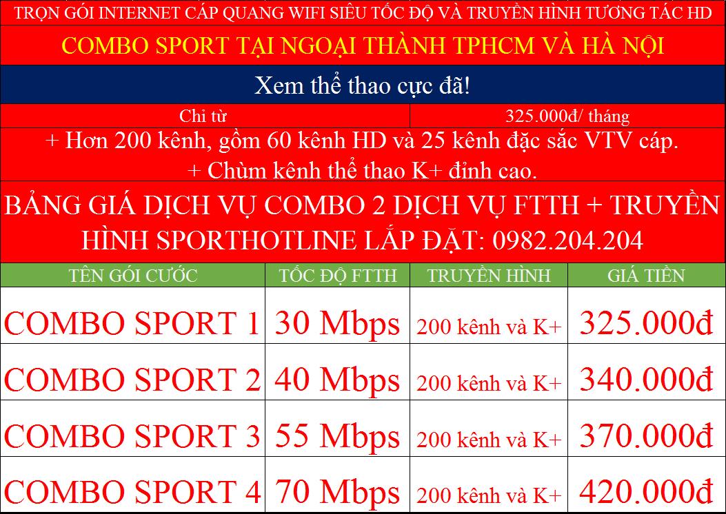 Bảng giá đăng ký mạng Viettel các gói combo Sport K+ ngoại thành Hà Nội TPHCM