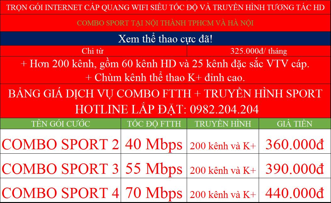 Bảng giá lắp đặt mạng internet cáp quang wifi Viettel các gói combo Sport nội thành TPHCM Hà Nội