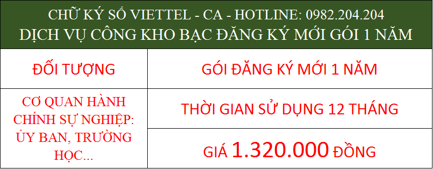 Chữ ký số Viettel 2021 dịch vụ công kho bạc cấp mới 1 năm