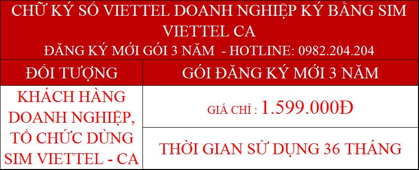 Chữ ký số Viettel cho công ty ký bằng Sim CA gói 3 năm