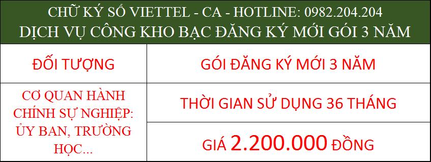 Chữ ký số Viettel dịch vụ công kho bạc cấp mới gói 3 năm