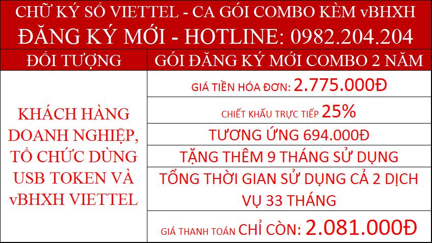 Chữ ký số Viettel gói combo 2 năm cho công ty kèm vBHXH