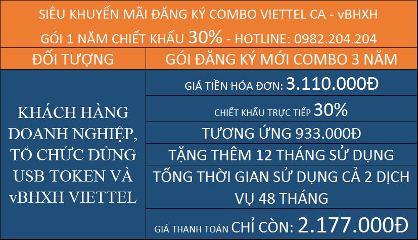 Combo giá BHXH Viettel kèm chữ ký số gói 3 năm