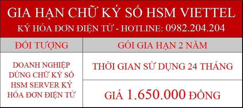 Giá gia hạn chữ ký số HSM Viettel ký hóa đơn điện tử gói 2 năm