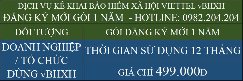 Giá vBHXH Viettel 2021 gói 1 năm chỉ 499000Đ