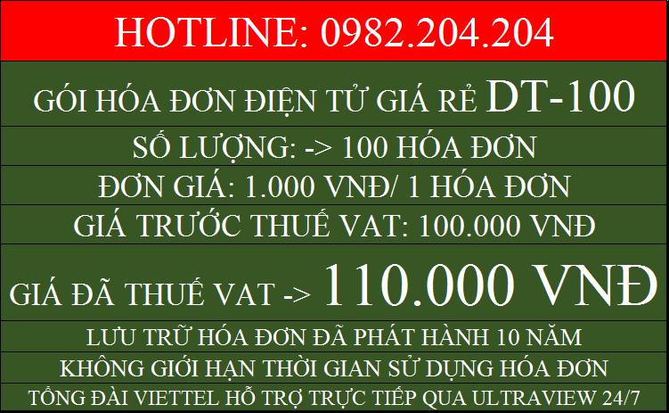 Hóa đơn điện tử giá rẻ gói DT100 chỉ 110000