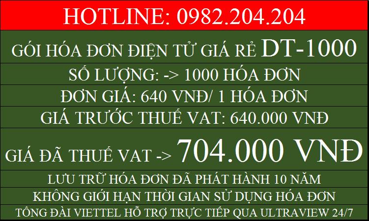 Hóa đơn điện tử giá rẻ gói DT1000 chỉ 704000