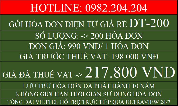 Hóa đơn điện tử giá rẻ gói DT200 chỉ 217800