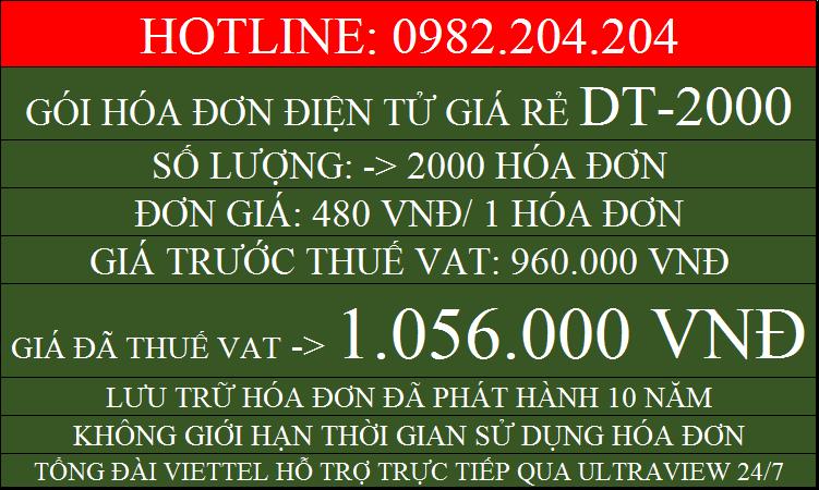 Hóa đơn điện tử giá rẻ gói DT2000 chỉ 1056000