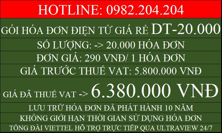 Hóa đơn điện tử giá rẻ gói DT20000 chỉ 6380000
