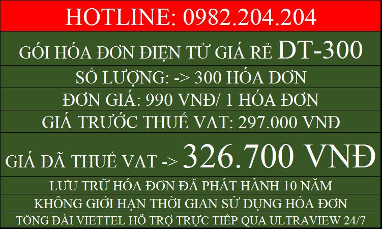 Hóa đơn điện tử giá rẻ gói DT300 chỉ 326700