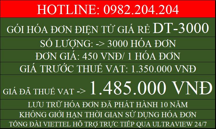 Hóa đơn điện tử giá rẻ gói DT3000 chỉ 1485000