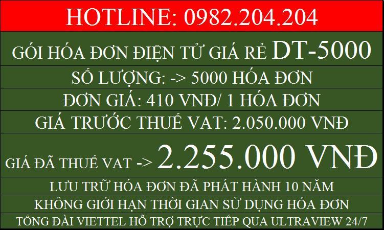 Hóa đơn điện tử giá rẻ gói DT5000 chỉ 2255000