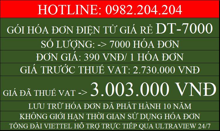 Hóa đơn điện tử giá rẻ gói DT7000 chỉ 3003000