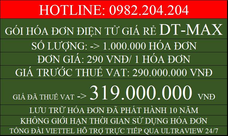 Hóa đơn điện tử giá rẻ gói DTMAX với 1000000 chỉ 319000000
