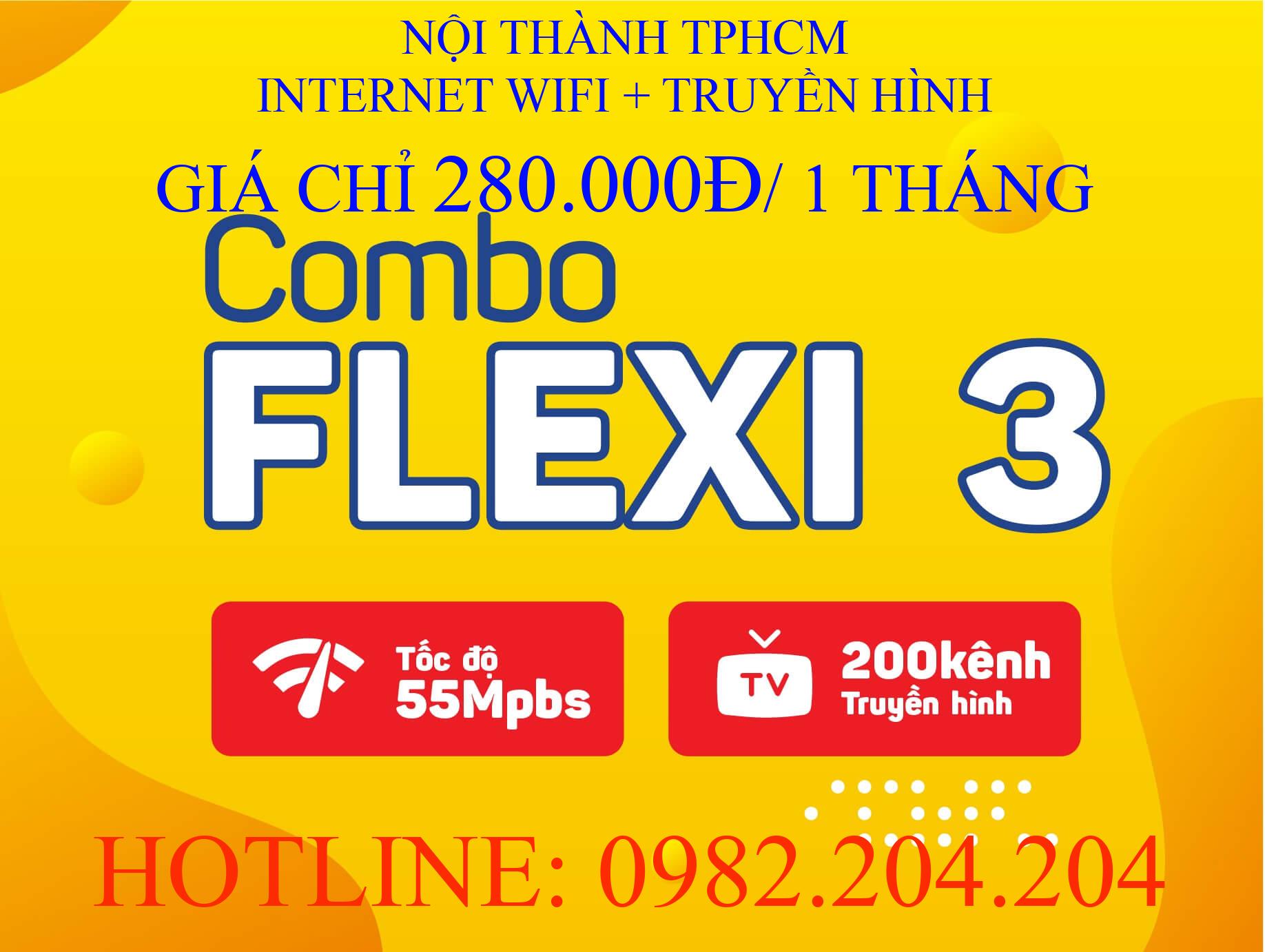 Lắp Mạng Cáp Quang Wifi Giá Rẻ HCM Nội Thành Gói Combo flexi 3 kèm truyền hình