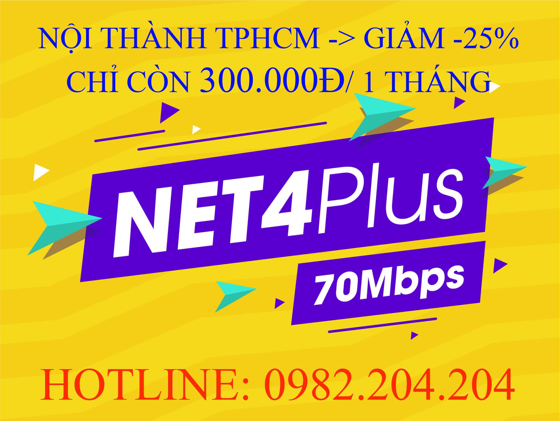 Lắp Mạng Cáp Quang Wifi Giá Rẻ TPHCM Nội Thành Gói Net 4 plus Viettel 70 Mbps