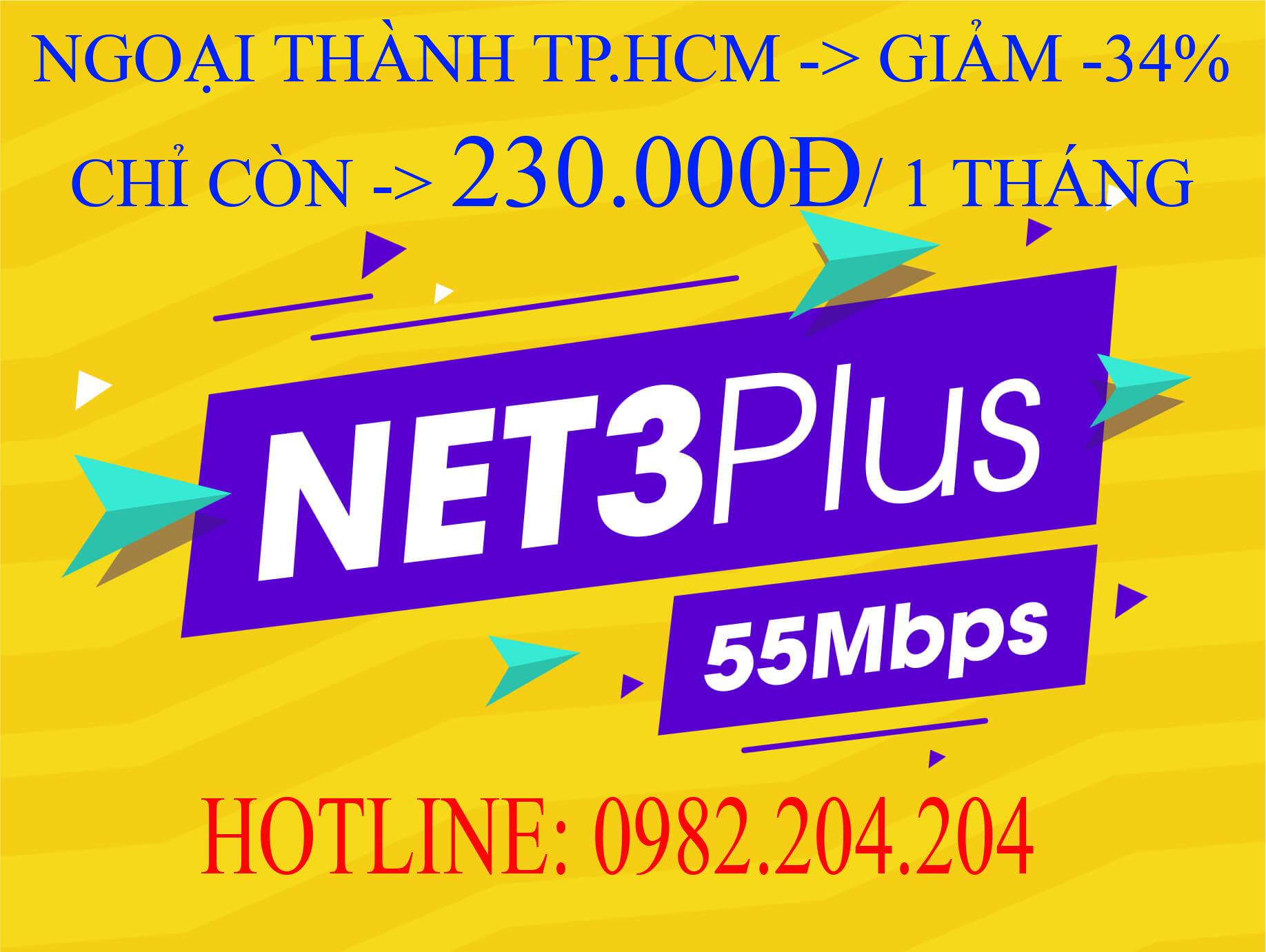Lắp Wifi Giá Rẻ TPHCM Gói Net 3 plus Viettel 55 Mbps
