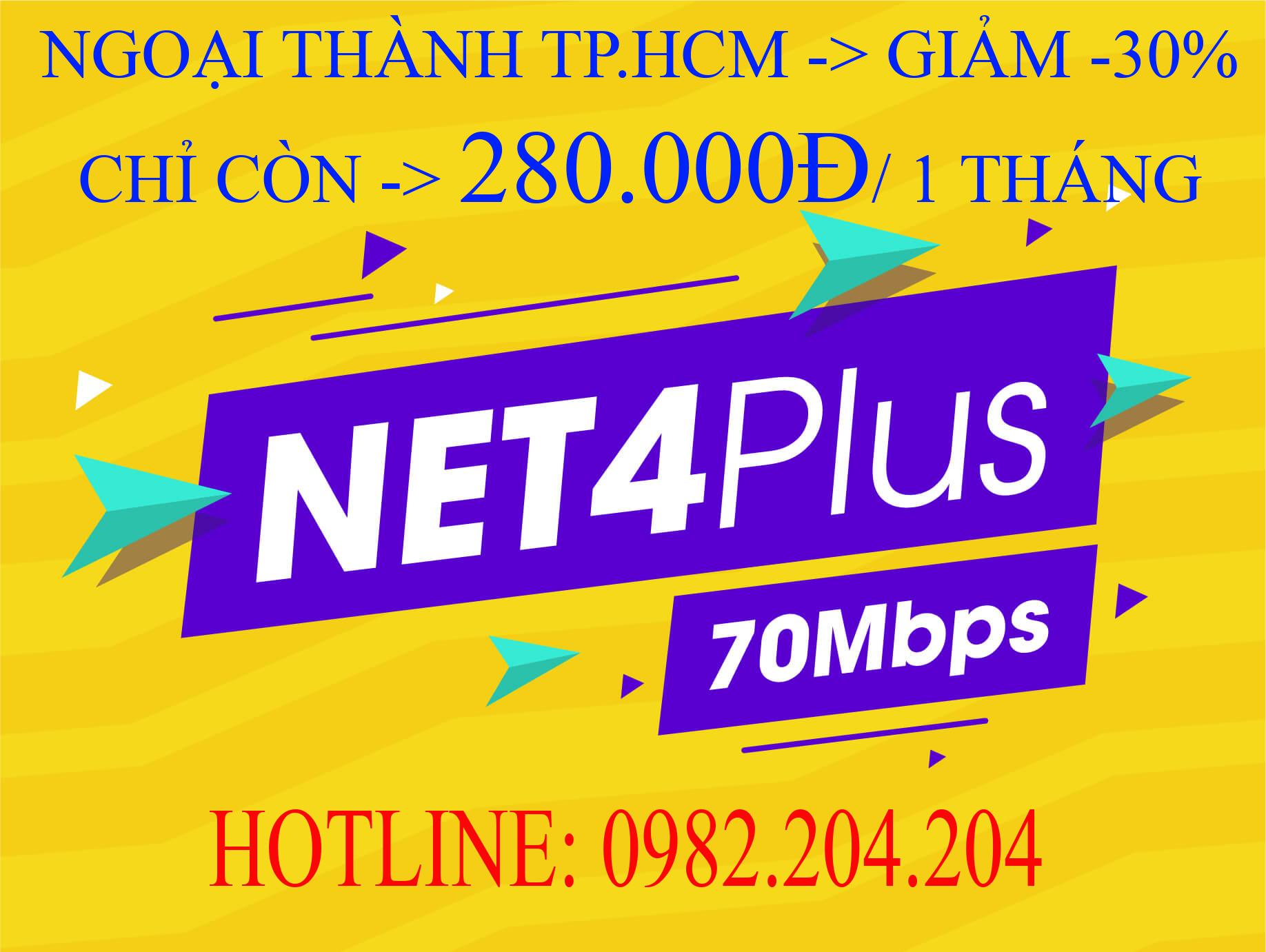 Lắp Wifi Giá Rẻ TPHCM Gói Net 4 plus Viettel 70 Mbps