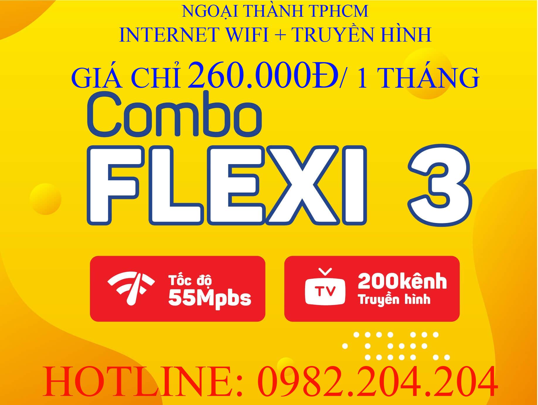 Lắp Wifi Giá Rẻ TPHCM kèm truyền hình Gói combo flexi 3
