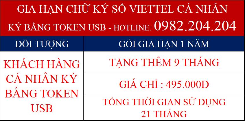 Phí gia hạn chữ ký số Viettel cá nhân ký bằng Token USB gói 1 năm