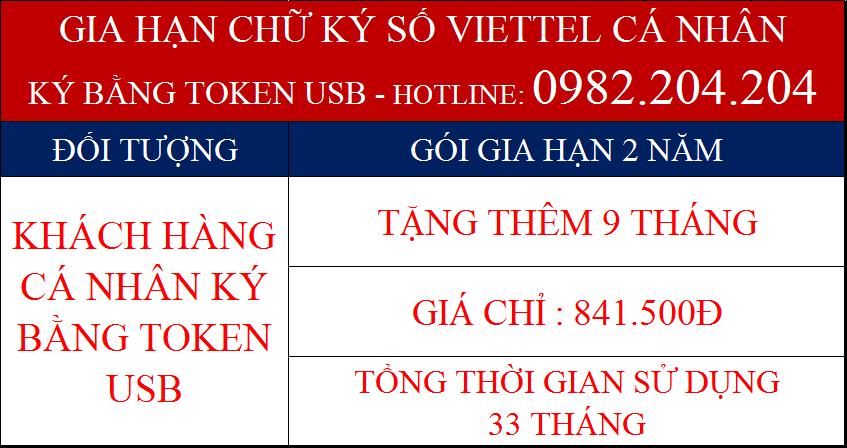 Phí gia hạn chữ ký số Viettel cá nhân ký bằng Token USB gói 2 năm