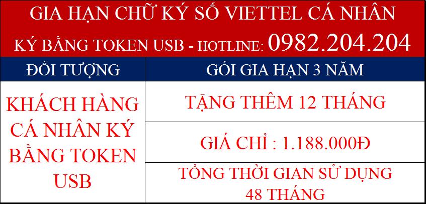Phí gia hạn chữ ký số Viettel cá nhân ký bằng Token USB gói 3 năm