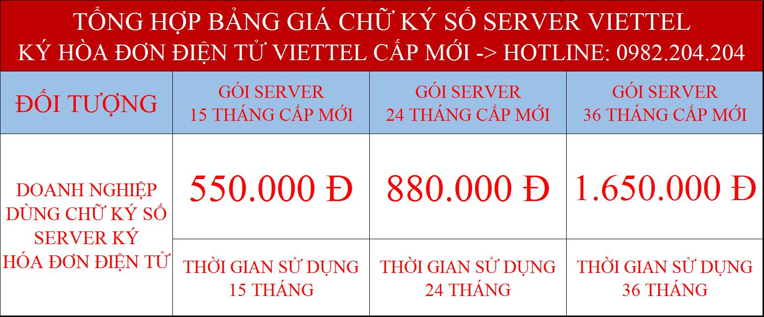 Giá các gói chữ ký số server giá rẻ nhất ký hóa đơn điện tử Viettel