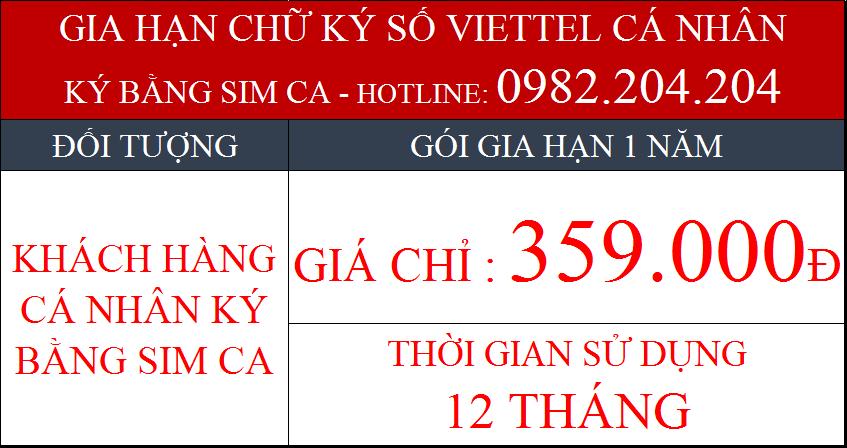 Phí gia hạn Chữ ký số Viettel cho cá nhân ký bằng Sim CA gói 1 năm
