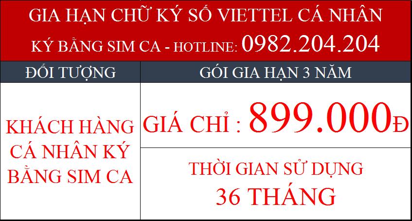 Phí gia hạn Chữ ký số Viettel cho cá nhân ký bằng Sim CA gói 3 năm