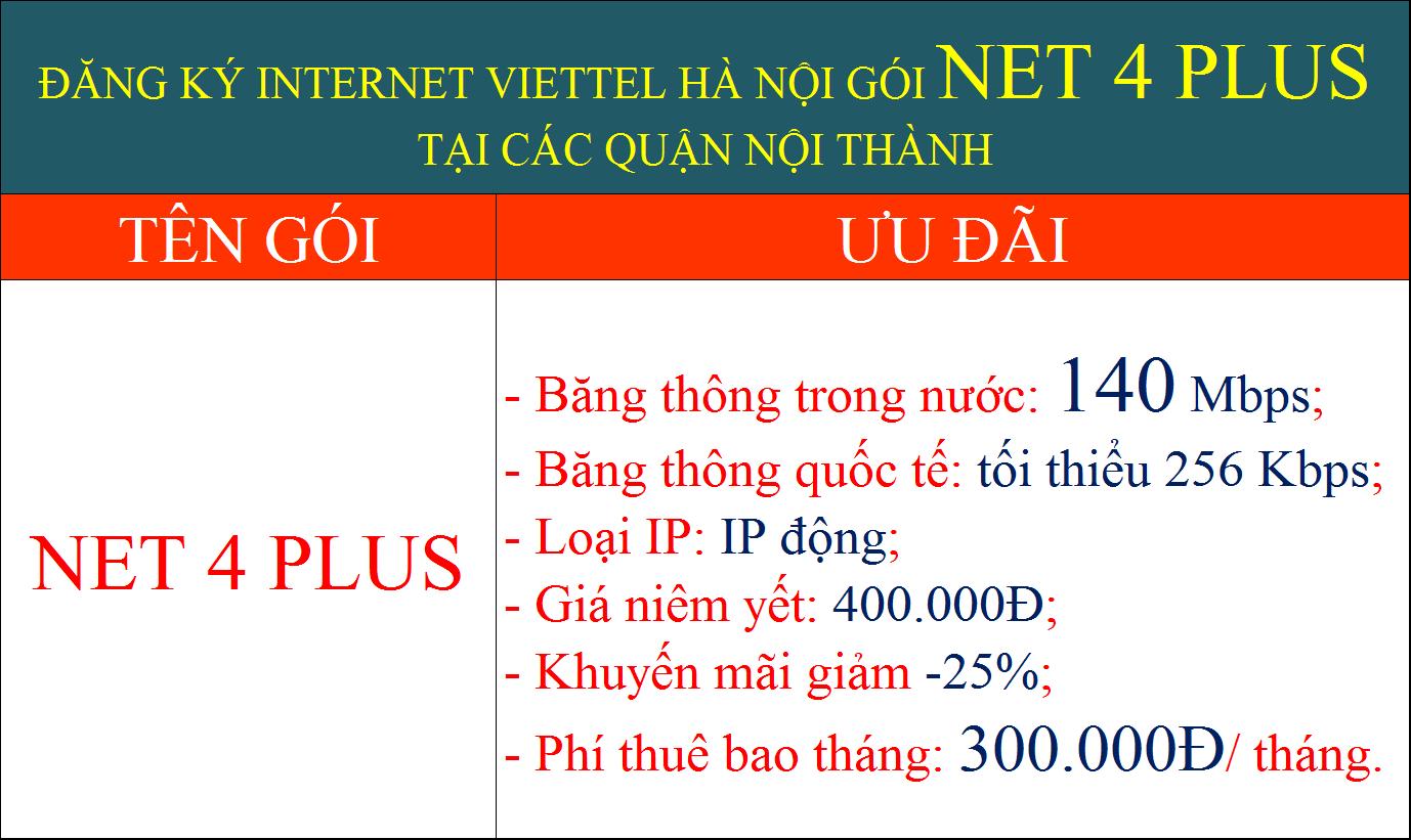 Đăng ký internet Viettel Hà Nội gói cước Net 4 Plus nội thành
