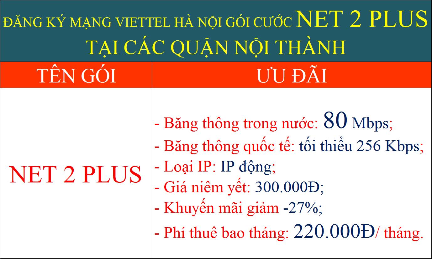Đăng ký mạng Viettel Hà Nội gói cước Net 2 Plus nội thành