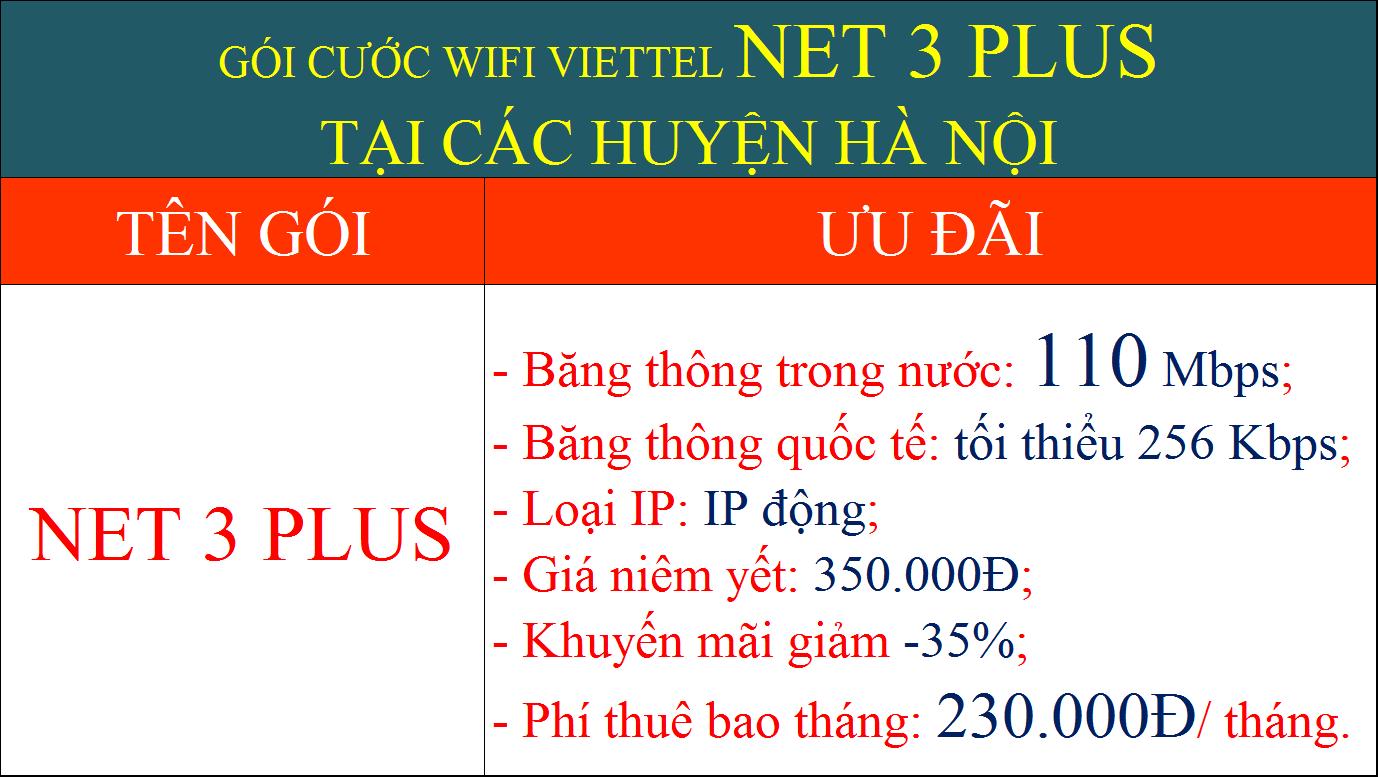Gói cước wifi Viettel Hà Nội Net 3 Plus