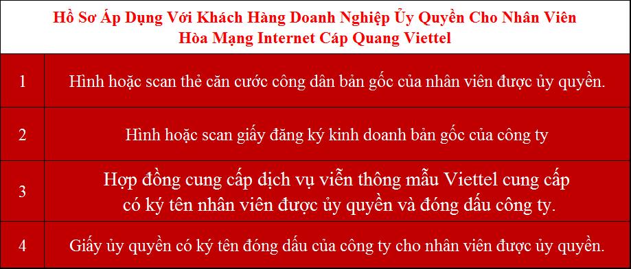 Hồ sơ lắp wifi Viettel Hà Nội doanh nghiệp ủy quyền