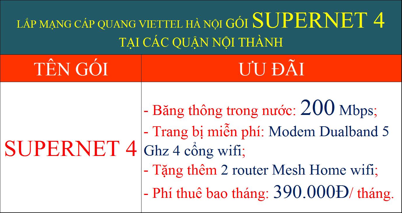 Lắp mạng cáp quang Viettel Hà Nội gói Supernet 4 nội thành