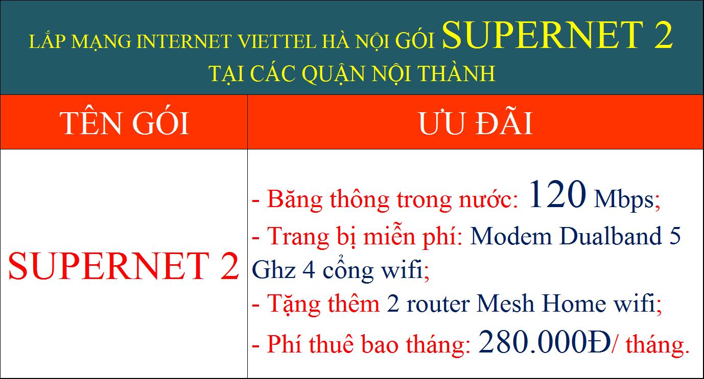 Lắp mạng internet Viettel Hà Nội gói Supernet 2 nội thành