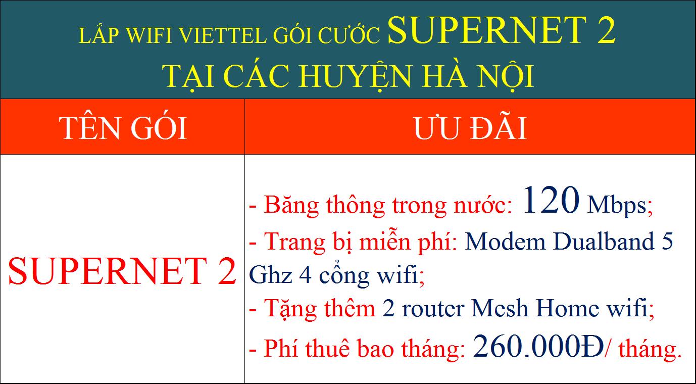 Lắp wifi Viettel Hà Nội gói Supernet 2