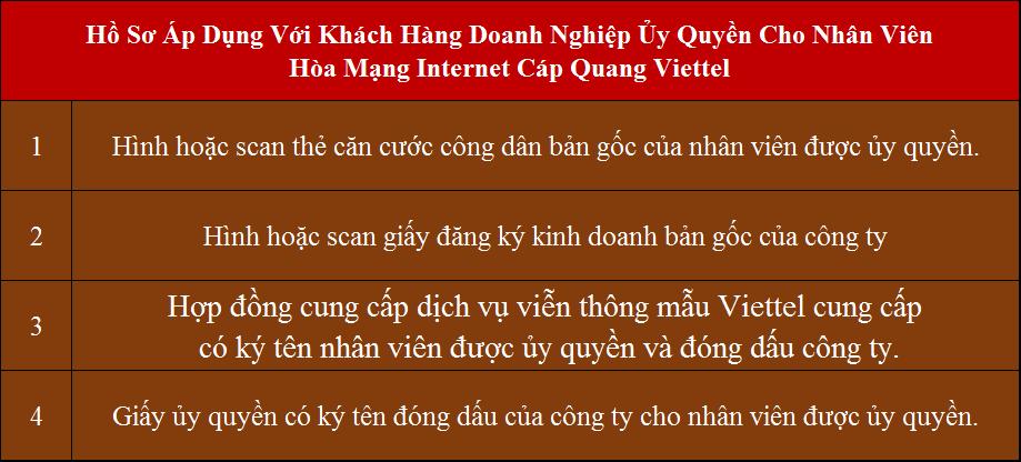 Các Gói Cước internet Viettel 2021 Hồ sơ áp dụng cho doanh nghiệp ủy quyền