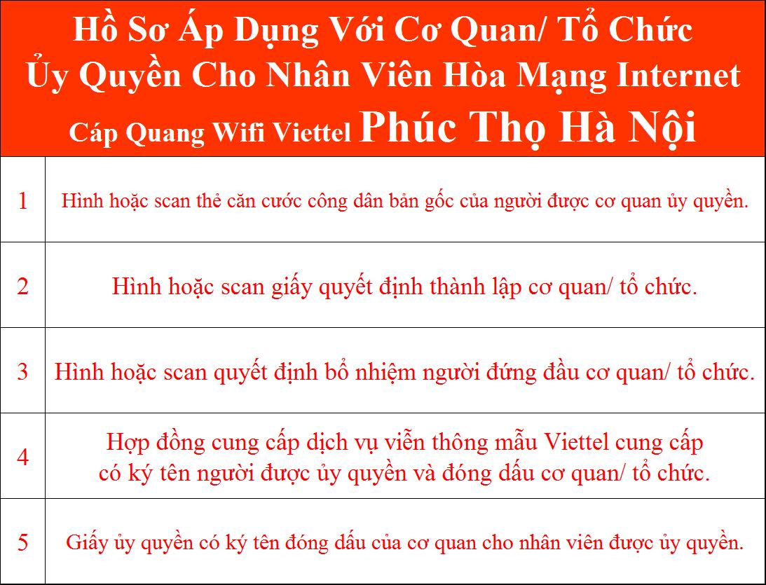 Hồ sơ lắp cáp quang Viettel Phúc Thọ Hà Nội cơ quan ủy quyền