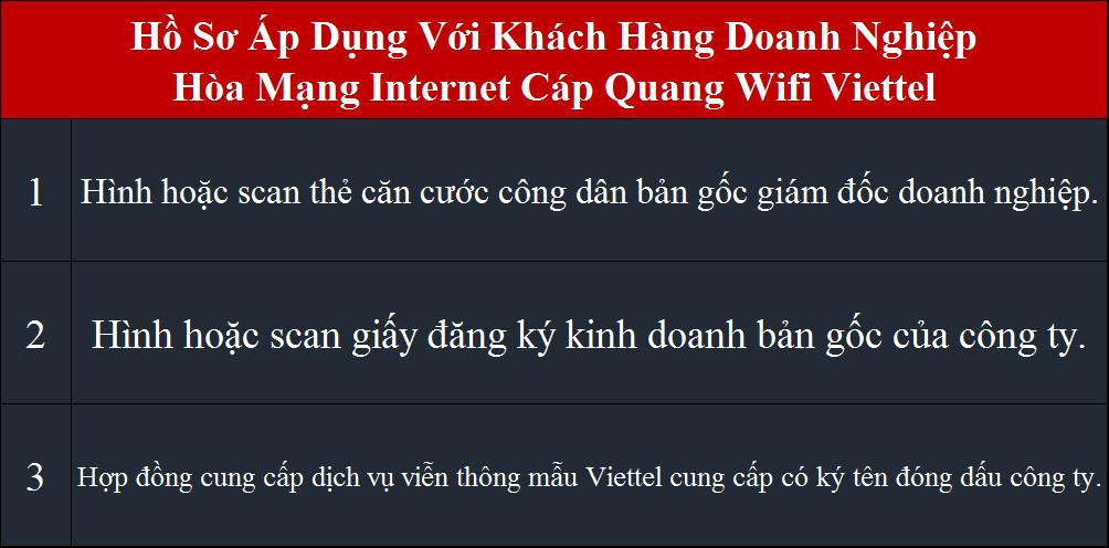 Lắp Internet Viettel hồ sơ áp dụng cho doanh nghiệp