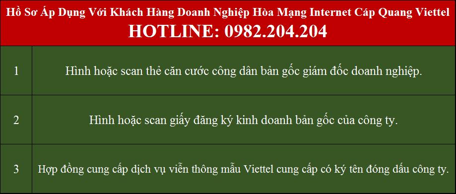 Lắp cáp quang Viettel Hà Nội Ứng Hòa Hồ sơ áp dụng với doanh nghiệp